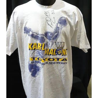 Karl Malone Autographed Toyota Dealership T-Shirt JSA KK52066 (Reed Buy)