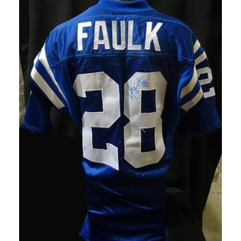 Marshall Faulk Indianapolis Colts Auto NFL 75th Authentic Throwback Jersey JSA KK52007 (Reed Buy)