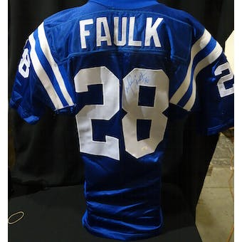 Marshall Faulk Indianapolis Colts Auto NFL 75th Authentic Throwback Jersey JSA KK52008 (Reed Buy)