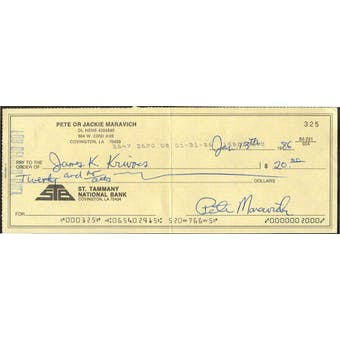 Pete Maravich Basketball Autographed Personal Check JSA BB63972 Auto 8 (Reed Buy)