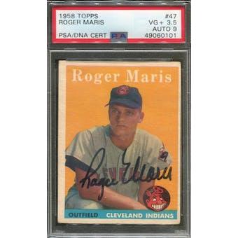 1958 Topps #47 Roger Maris RC PSA 3.5 (VG+) Auto 9 *0101 (Reed Buy)