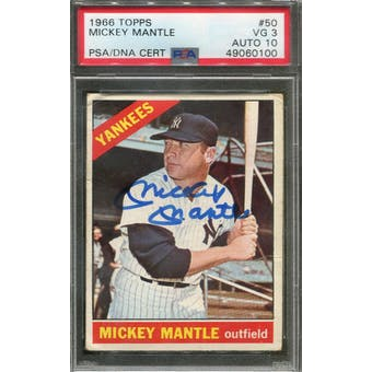 1966 Topps #50 Mickey Mantle Autograph PSA 3 (VG) Auto 10 *0100 (Reed Buy)