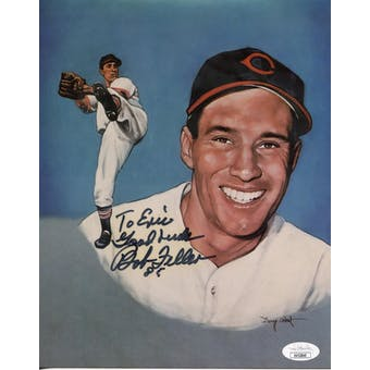 Bob Feller Cleveland Indians Autographed 8x10 Photo (pers.) JSA KK52840 (Reed Buy)