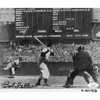 Bob Feller Cleveland Indians Autographed 8x10 Photo (4/30/46) JSA KK52839 (Reed Buy)