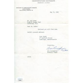 Ara Parseghian Typed Letter Signed JSA KK52802 (Reed Buy)