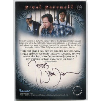 Joss Whedon Inkworks Buffy The Vampire Slayer Final Farewell #CL-1 Autograph (Reed Buy)