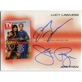 Lucy Lawless/Jeri Ryan Rittenhouse TV Guide #TVA3 Dual Autograph (Reed Buy)