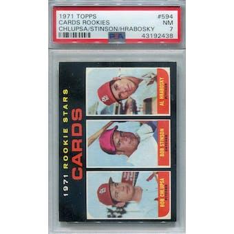 1971 Topps #594 Cardinals Rookies PSA 7 *2438 (Reed Buy)