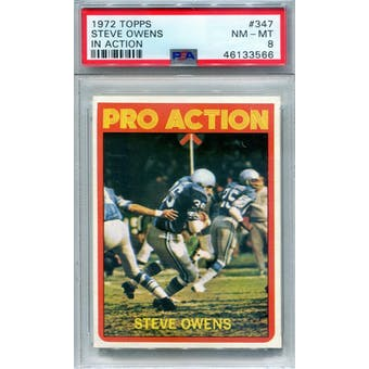 1972 Topps #347 Steve Owens IA PSA 8 *3566 (Reed Buy)