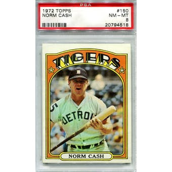 1972 Topps #150 Norm Cash PSA 8 *4518 (Reed Buy)