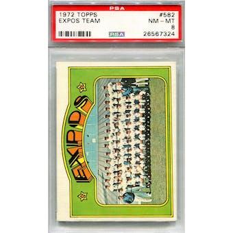 1972 Topps #582 Expos Team PSA 8 *7324 (Reed Buy)