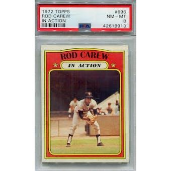 1972 Topps #696 Rod Carew IA PSA 8 *9913 (Reed Buy)
