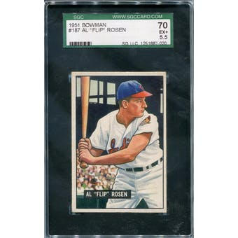 1951 Bowman #187 Al Rosen SGC 70 *7020 (Reed Buy)