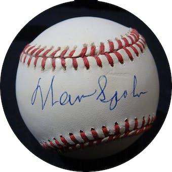 Warren Spahn Autographed AL Brown Baseball JSA KK52516 (Reed Buy)