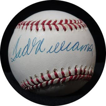 Ted Williams Autographed AL Brown Baseball PSA P04063 Grade 8 (Reed Buy)