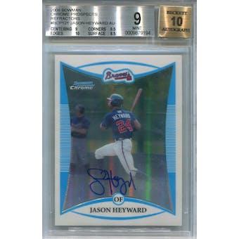 2008 Bowman Chrome Refractors #BCP121 Jason Heyward #/500 BGS 9 Auto 10 *9194 (Reed Buy)
