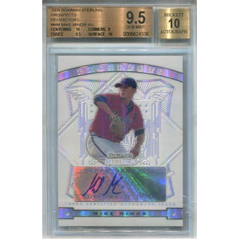 2009 Bowman Sterling Refractors #MM Mike Minor #/199 BGS 9.5 Auto 10 *4336 (Reed Buy)