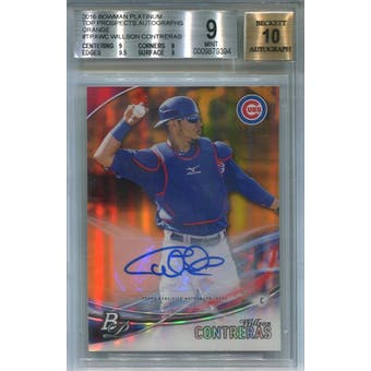 2016 Bowman Platinum Orange #TPAWC Willson Contreras #/25 BGS 9 Auto 10 *9394 (Reed Buy)