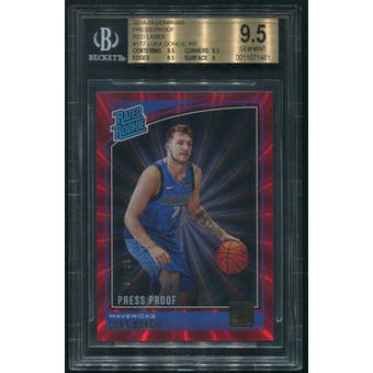 2018/19 Donruss #177 Luka Doncic Press Proof Red Laser Rated Rookie #02/99 BGS 9.5 (GEM MINT)