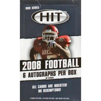 2008 Sage Hit Football High Series Hobby Box