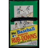 1985 Topps Rub-Downs Baseball Wax Box (Reed Buy)