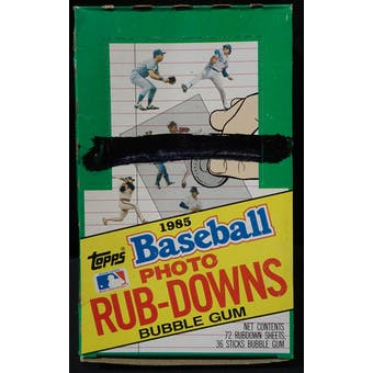 1985 Topps Rub-Downs Baseball Wax Box (Reed Buy)