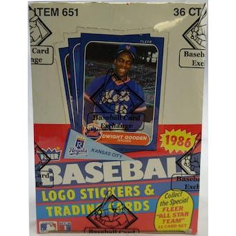1986 Fleer Baseball Wax Box (BBCE) (Reed Buy)