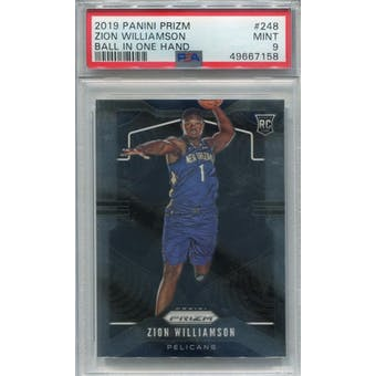 2019/20 Panini Prizm #248 Zion Williamson RC Ball In One Hand PSA 9 *7158 (Reed Buy)