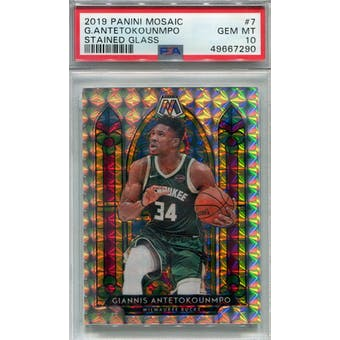 2019/20 Panini Mosaic Stained Glass #7 Giannis Antetokounmpo PSA 10 *7290 (Reed Buy)