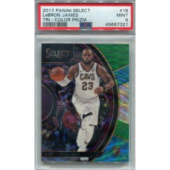 2017/18 Panini Select Tri-Color Prizm #18 LeBron James PSA 9 *7321 (Reed Buy)