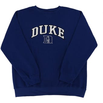 Duke Blue Devils Genuine Stuff Blue Crew Neck Fleece Sweatshirt (Adult M)