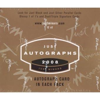2008 Just Minors Just Autographs Baseball Hobby Box