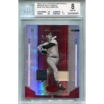 2004 Leaf Certified Materials Mirror Combo Red #239 Ted Williams Bat/Jacket #/100 BGS 8 *6893 (Reed Buy)