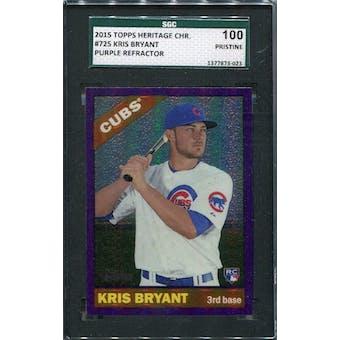 2015 Topps Heritage Chrome Purple Refractors #THC725 Kris Bryant SGC 100 Pristine *3023 (Reed Buy)