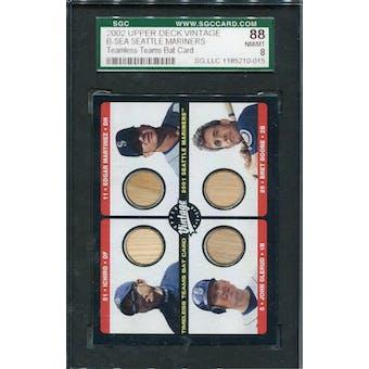 2002 Vintage Timeless Teams Game Bat Quads Ichiro/Martinez/Olerud/Boone SGC 88 *0015 (Reed Buy)