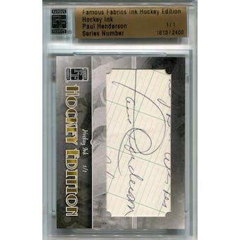 2010 Famous Fabrics Hockey Ink Paul Henderson Autograph 1/1 (Reed Buy)