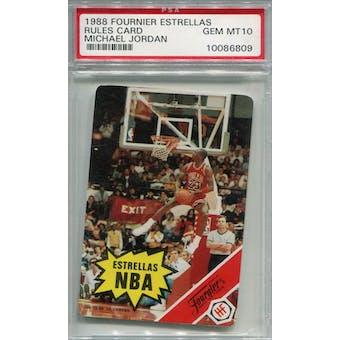 1988 Fournier Estrellas Rules Card Michael Jordan PSA 10 *6809 (Reed Buy)