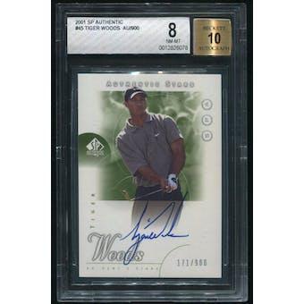 2001 SP Authentic #45 Tiger Woods Rookie Auto #171/900 BGS 8 (NM-MT)