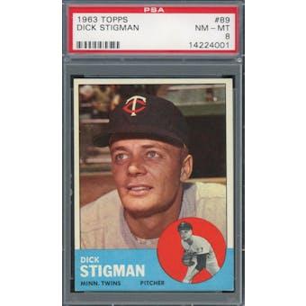 1963 Topps #89 Dick Stigman PSA 8 *4001 (Reed Buy)