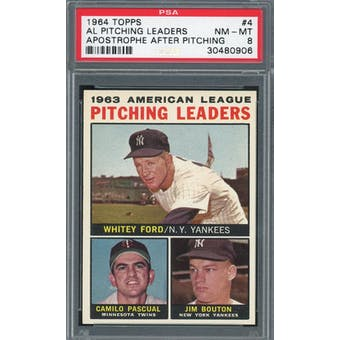 1964 Topps #4 AL Pitching Leaders w/ apostrophe PSA 8 *0906 (Reed Buy)