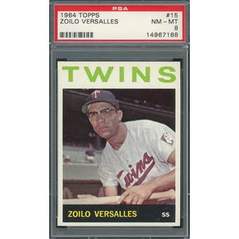 1964 Topps #15 Zoilo Versalles PSA 8 *7188 (Reed Buy)