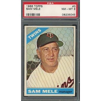 1966 Topps #3 Sam Mele PSA 8 *5045 (Reed Buy)