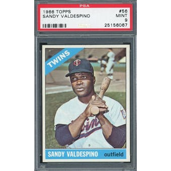 1966 Topps #56 Sandy Valdespino PSA 9 *6067 (Reed Buy)