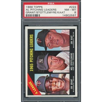 1966 Topps #224 AL Pitching Leaders PSA 8 *2597 (Reed Buy)