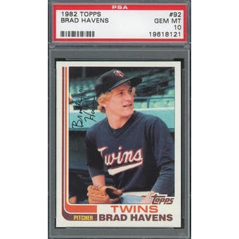 1982 Topps #92 Brad Havens PSA 10 POP 2 *8121 (Reed Buy)