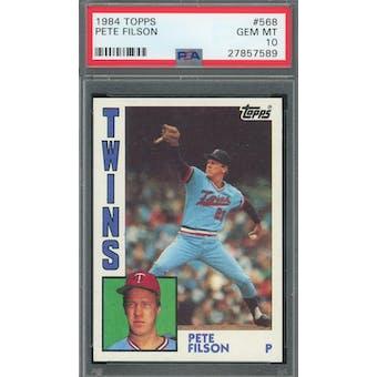 1984 Topps #568 Pete Filson PSA 10 POP 2 *7589 (Reed Buy)