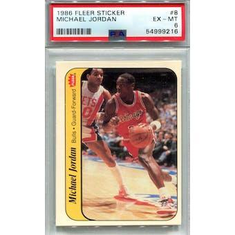 1986/87 Fleer Sticker #8 Michael Jordan PSA 6 *9216 (Reed Buy)