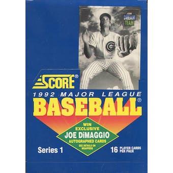 1992 Score Series 1 Baseball Wax Box