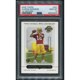 2005 Topps Football #431 Aaron Rodgers First Edition Rookie PSA 10 (GEM MT)