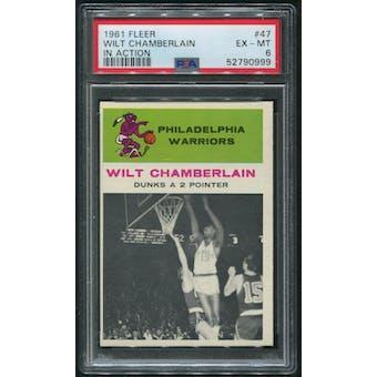 1961/62 Fleer Basketball #47 Wilt Chamberlain In Action Rookie PSA 6 (EX-MT)